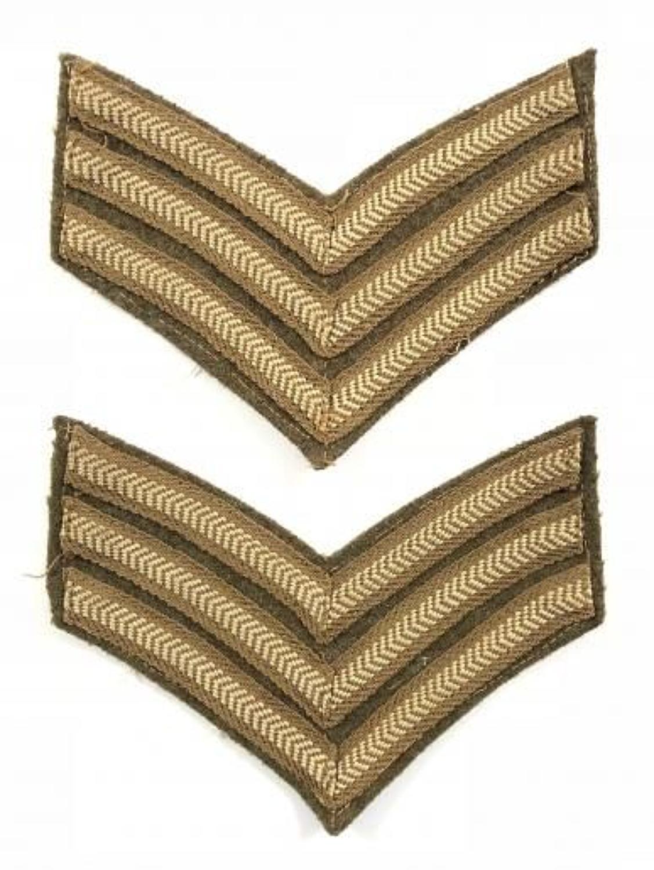 WW2 British Army Sergeant Chevron Badges.