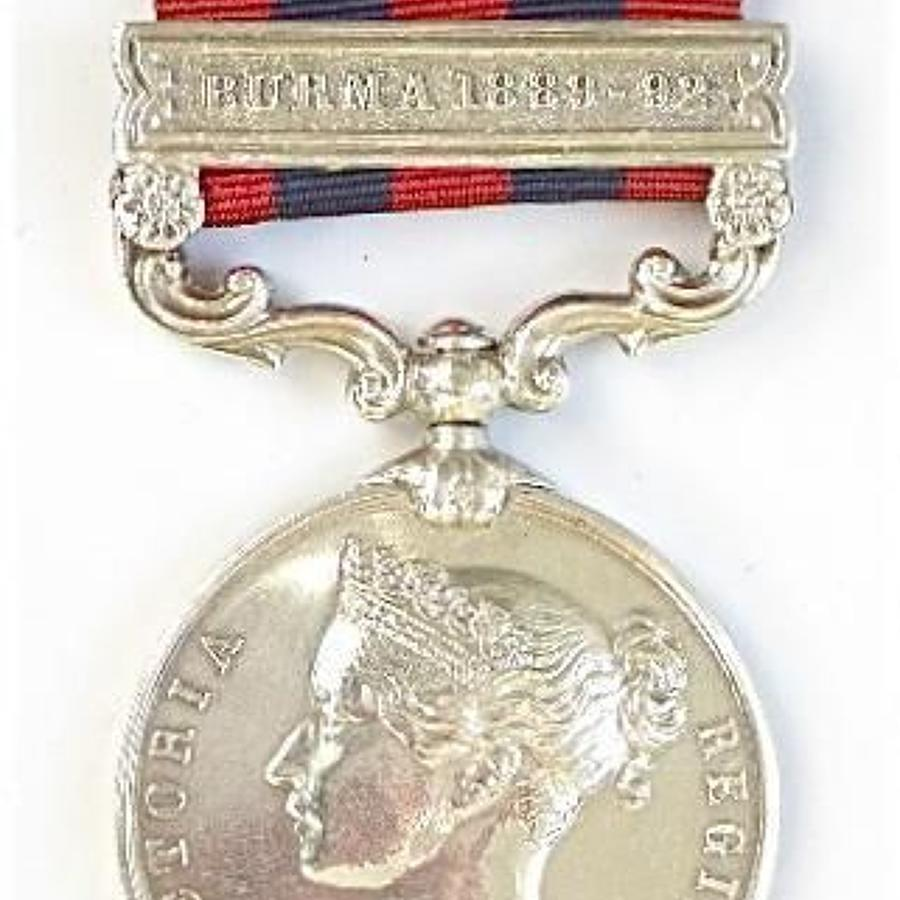 2nd Bn Devonshire Regiment India General Service Medal Burma 1889-92
