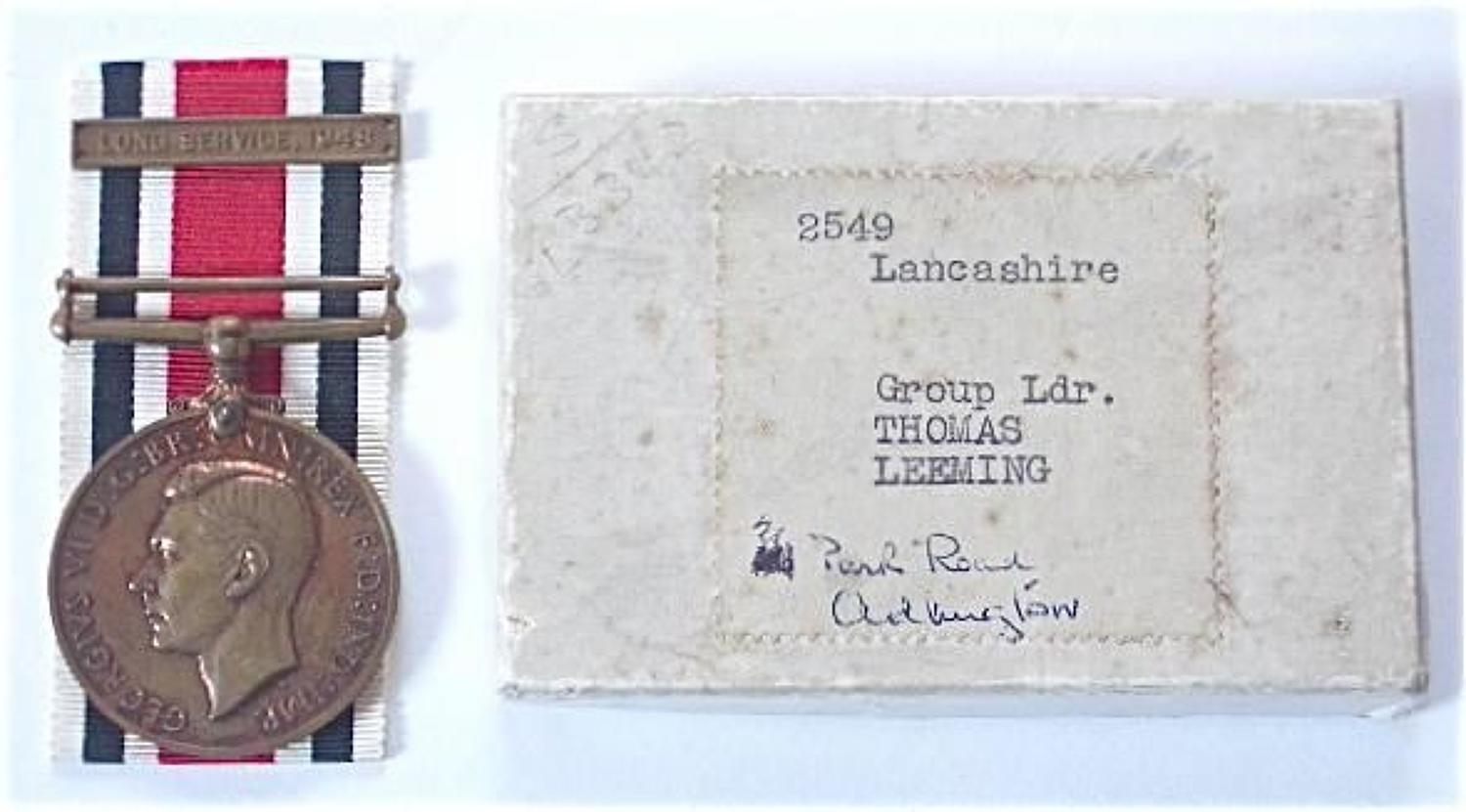Lancashire Constabulary DCM Winners Medal