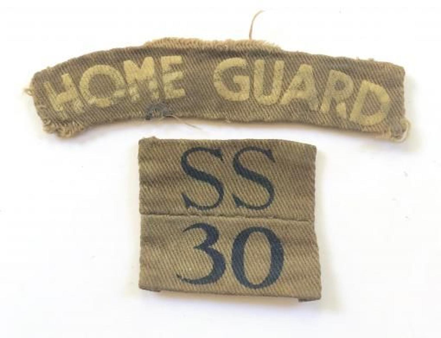 WW2 South Staffordshire Home Guard Combination Cloth Badges.