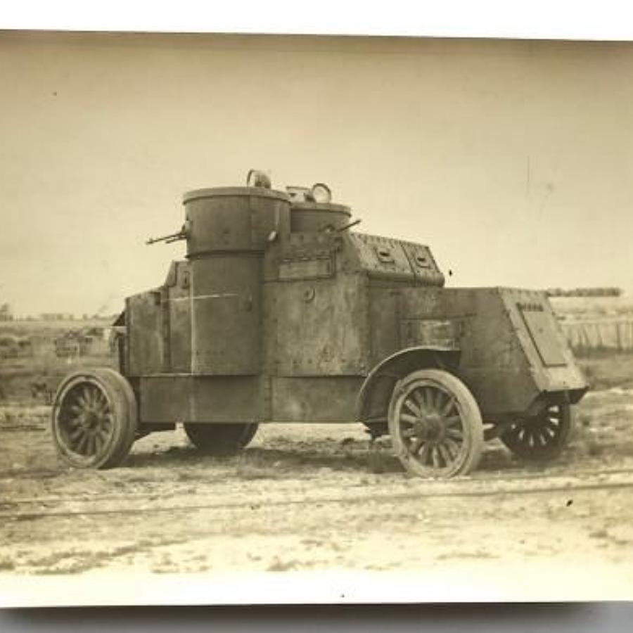 WW1 Period Large Original Photograph of a Tank Corps Austin Armoured C