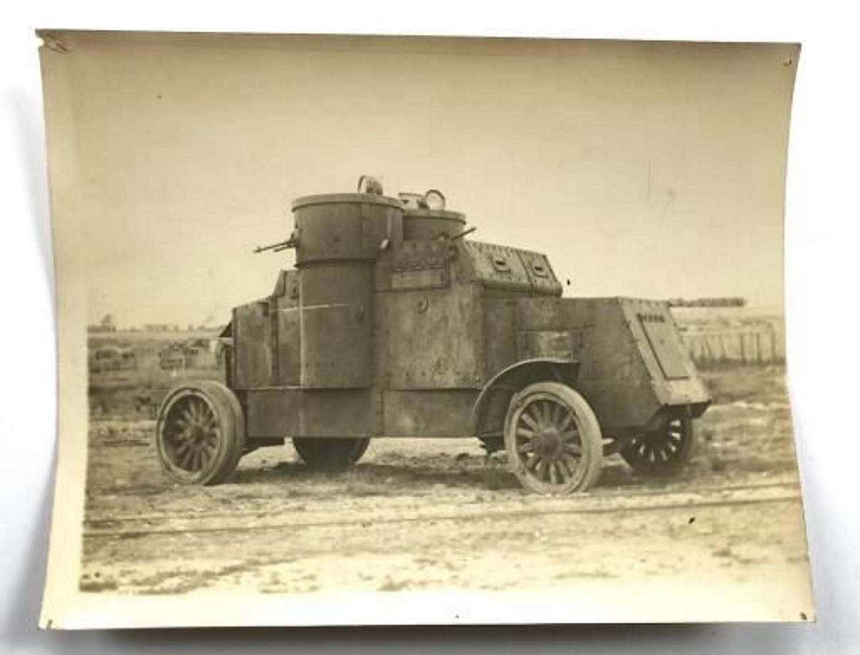 WW1 Period Large Original Photograph of a Tank Corps Austin Armoured C