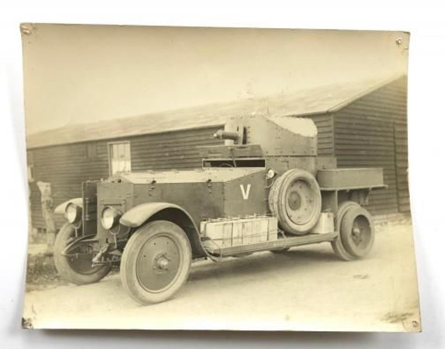 WW1 Period Large Original Photograph of a Tank Corps Armoured Car