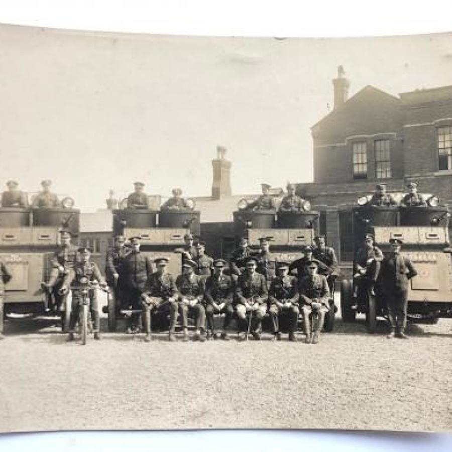 WW1 Period Large Original Photograph of Tank Corps Austin Armoured Car