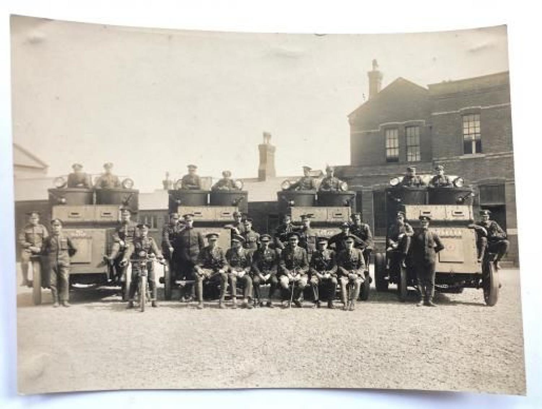 WW1 Period Large Original Photograph of Tank Corps Austin Armoured Car