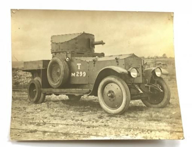 WW1 Period Large Original Photograph of a Tank Corps Armoured Car