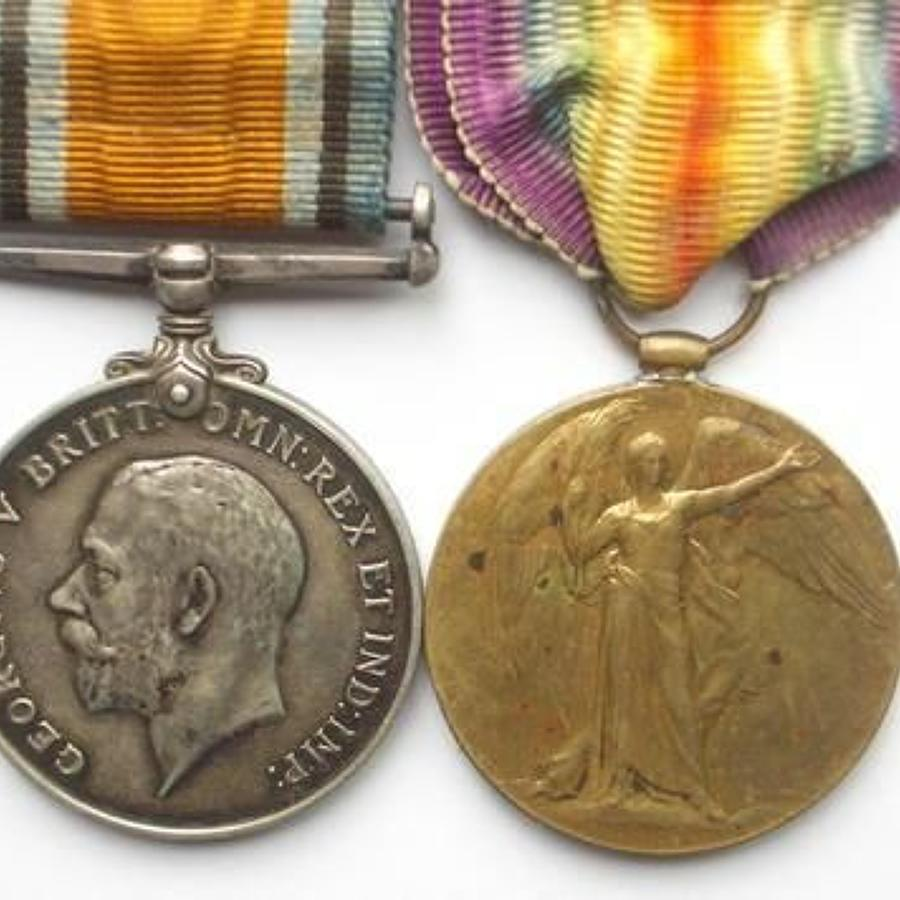 WW! 21st Bn London Regiment Pair of Medals.