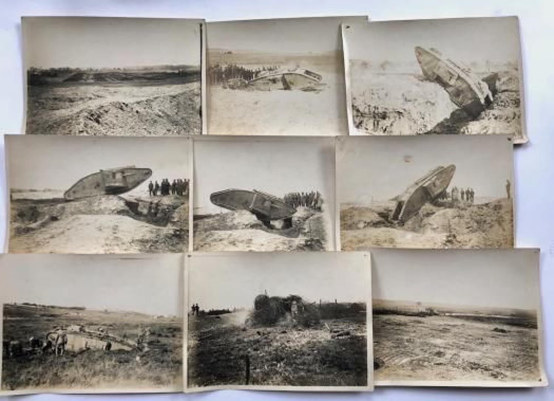 WW1 Tank Corps Original Photographs Of Tanks.