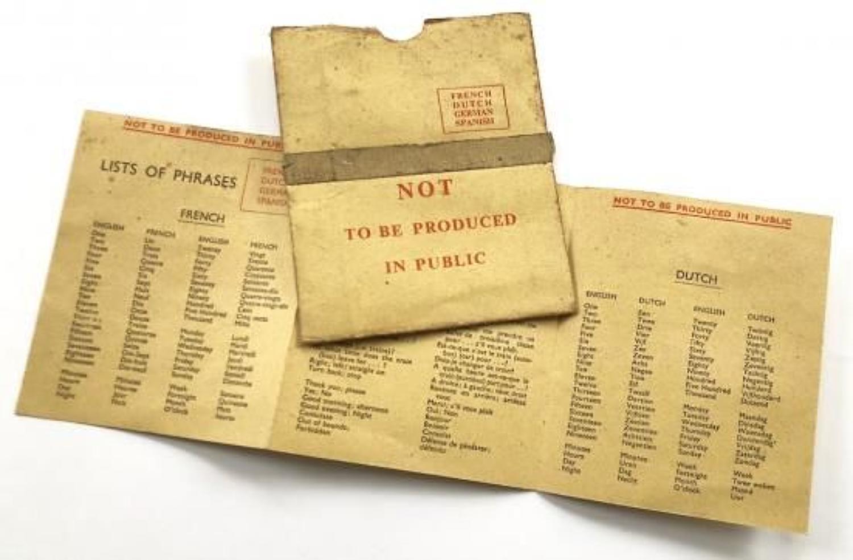 WW2 RAF Escape & Evasion Aircrew Issue Phrase Card.