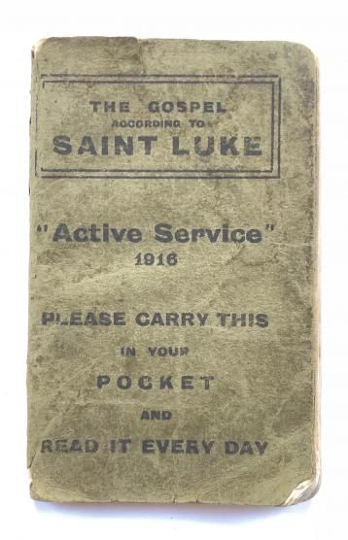 WW1 1916 Active Service Gospel according to Saint Luke.