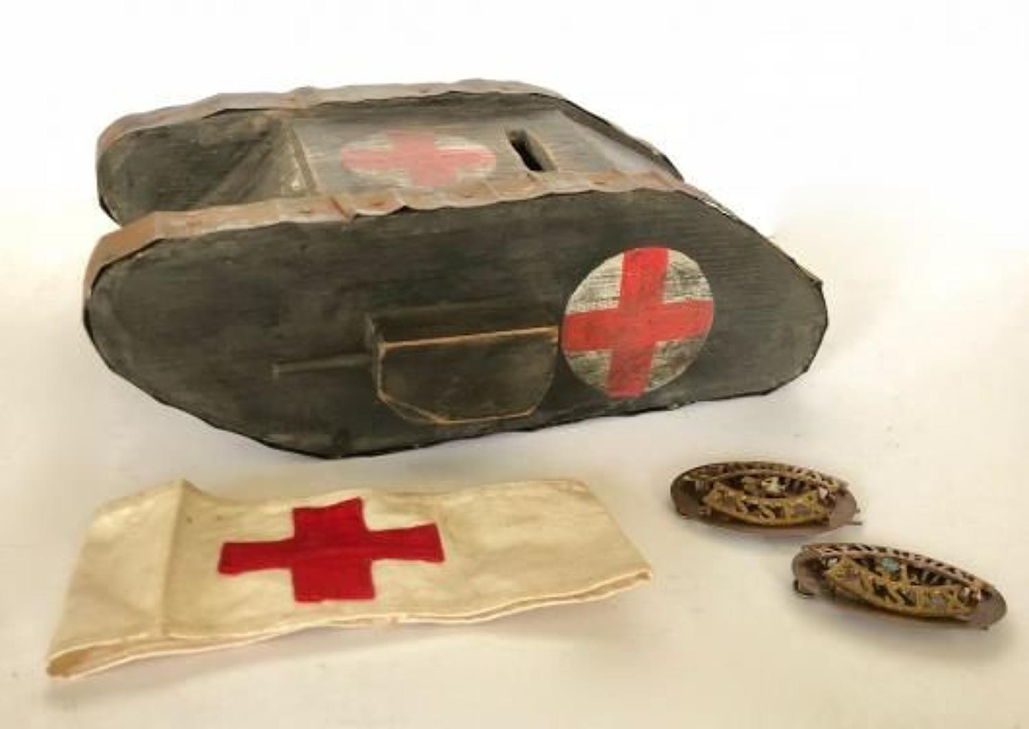WW1 Tank Essex Southend  Red Cross Collecting Box.