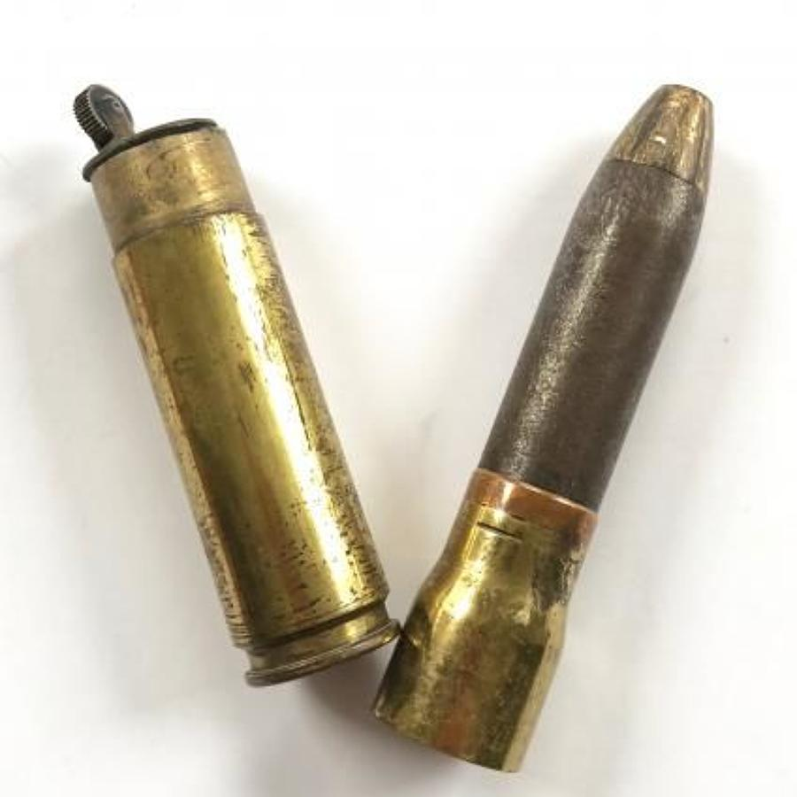 WW2 RAF Trench Art 20mm Cannon Shell Cigarette Lighter.