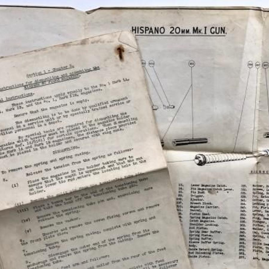 WW2 RAF Diagram & Instructions for the Hispano 20mm MkI Gun.