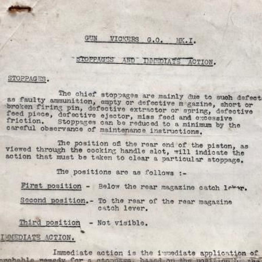 WW2 RAF, LRDG, SAS etc Notes on the Vickers Gas Operated Machine Gun.