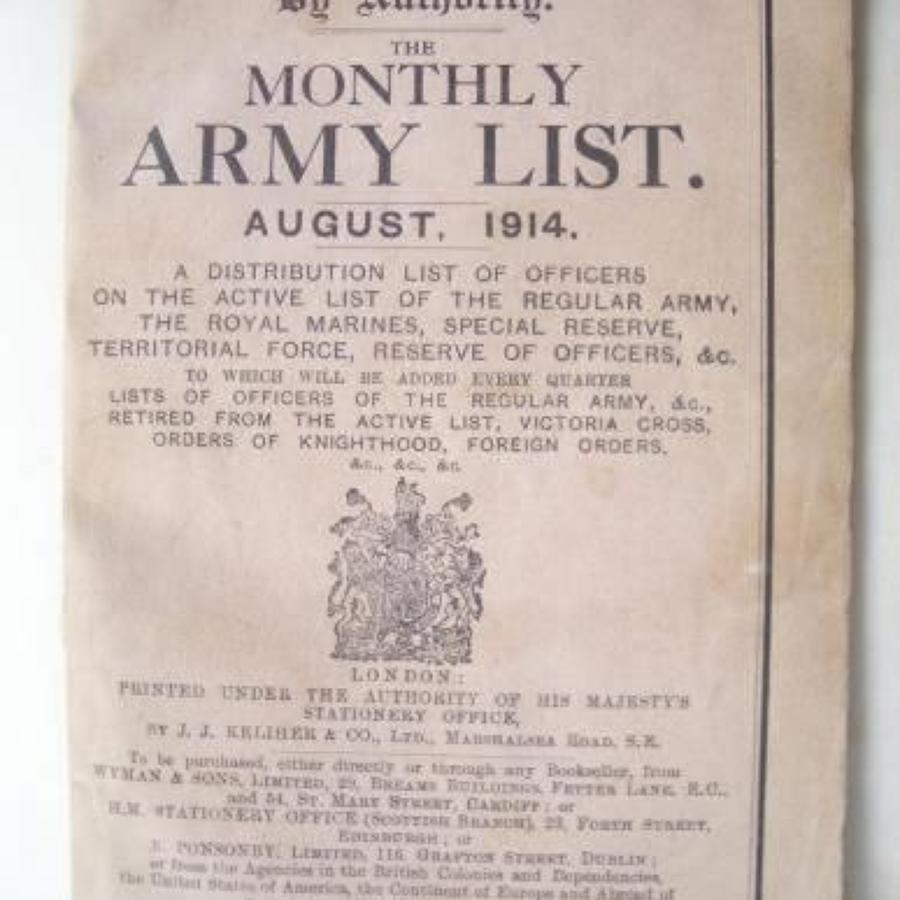 British Army List August 1914