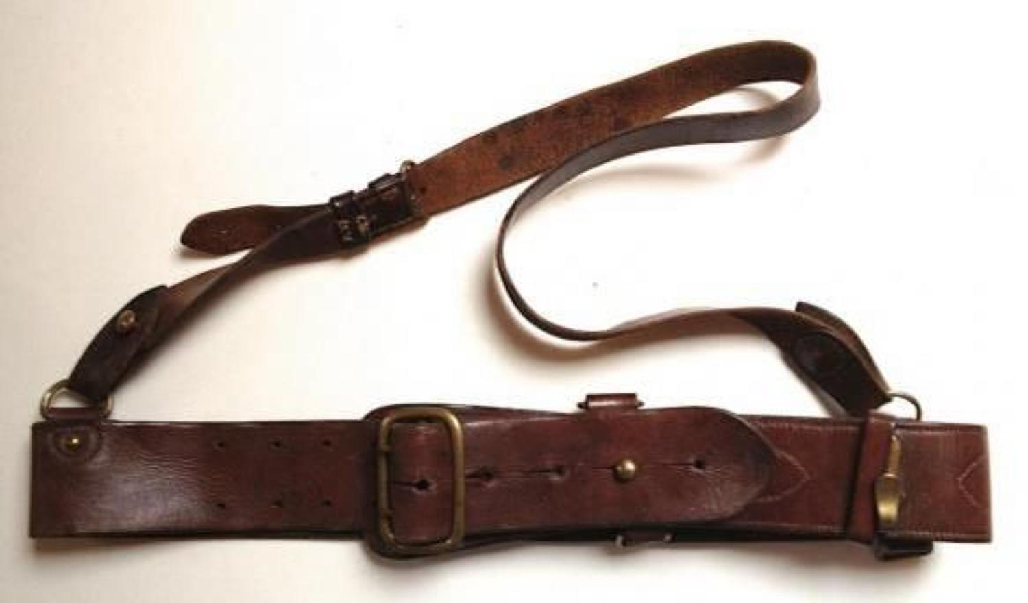 WW1 1917 British Officers Dated Sam Browne Belt.