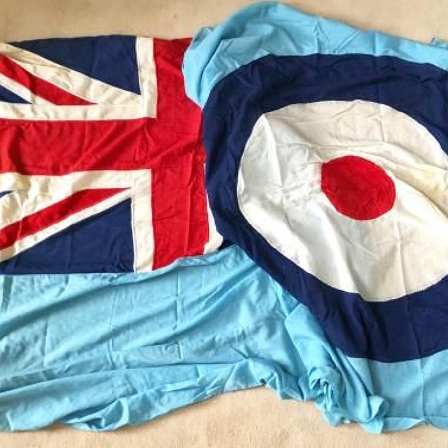 RAF Superb Original Large 12 Foot Cotton Station Ensign Flag
