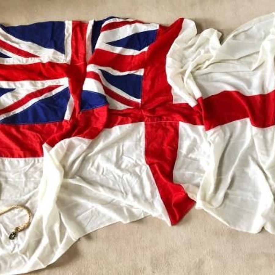 Royal Navy Orginal Large White Ensign Flag.