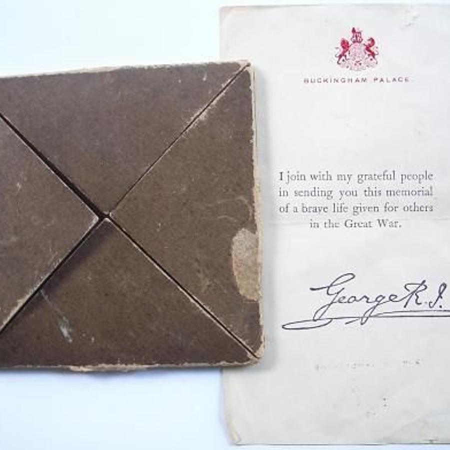 WW1 Memorial Plaque Card Envelope & Buckingham Palace Letter.