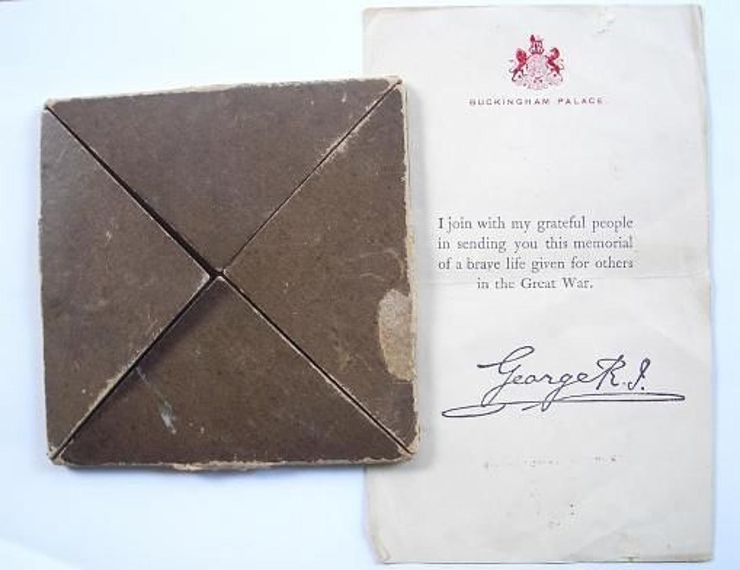 WW1 Memorial Plaque Card Envelope & Buckingham Palace Letter.