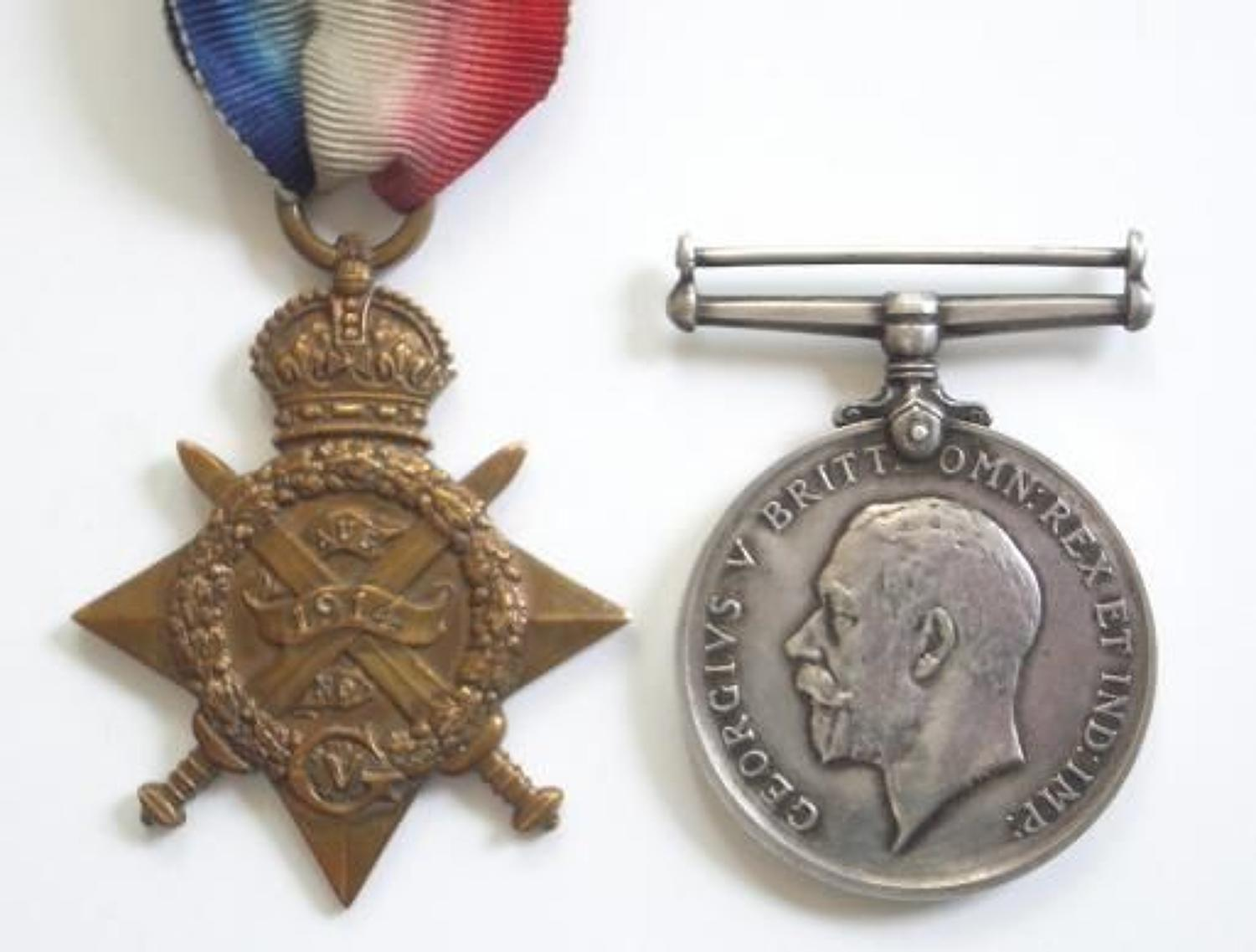 WW1 Inniskilling Fusiliers  1914 Star Pair of Medals