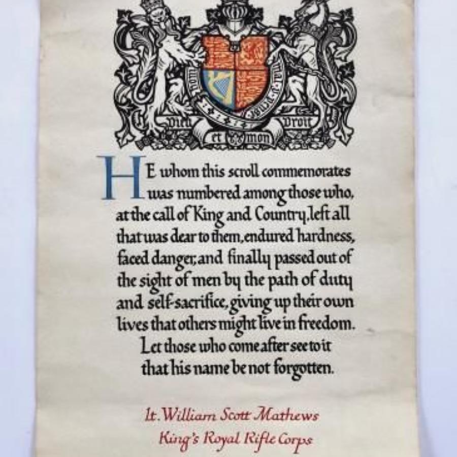WW1 Officer's 18th (Arts & Crafts) Bn KRRC Memorial Scroll.