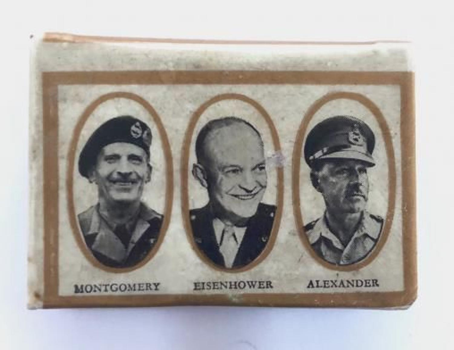 WW2 Celluloid Patriotic Allied Leaders Match Box Cover.