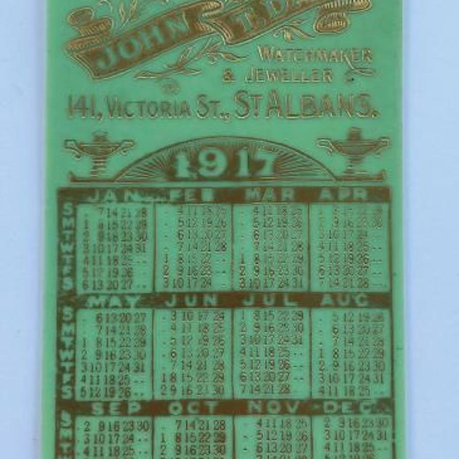 WW1 1917 Advertising Pocket Calendar