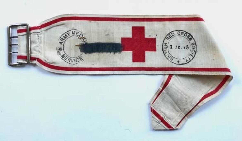 WW1 1918 Unusual Red Cross Army Band.