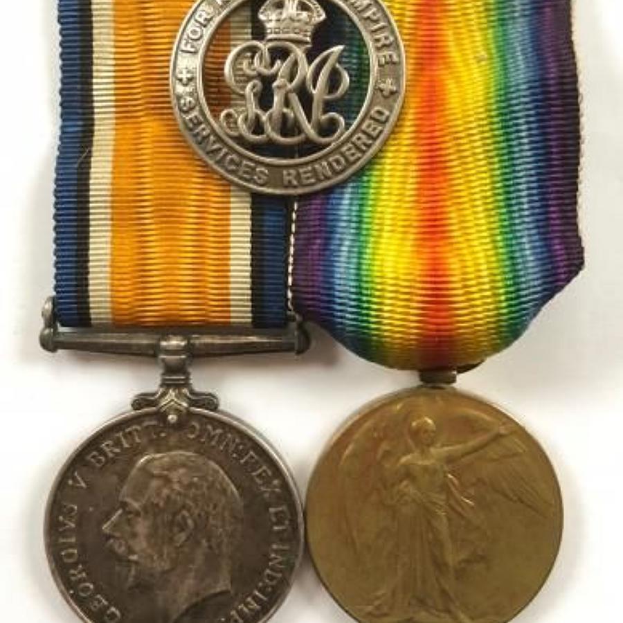 WW1 Royal Warwickshire Regiment Pair of Medals & Silver War Badge.
