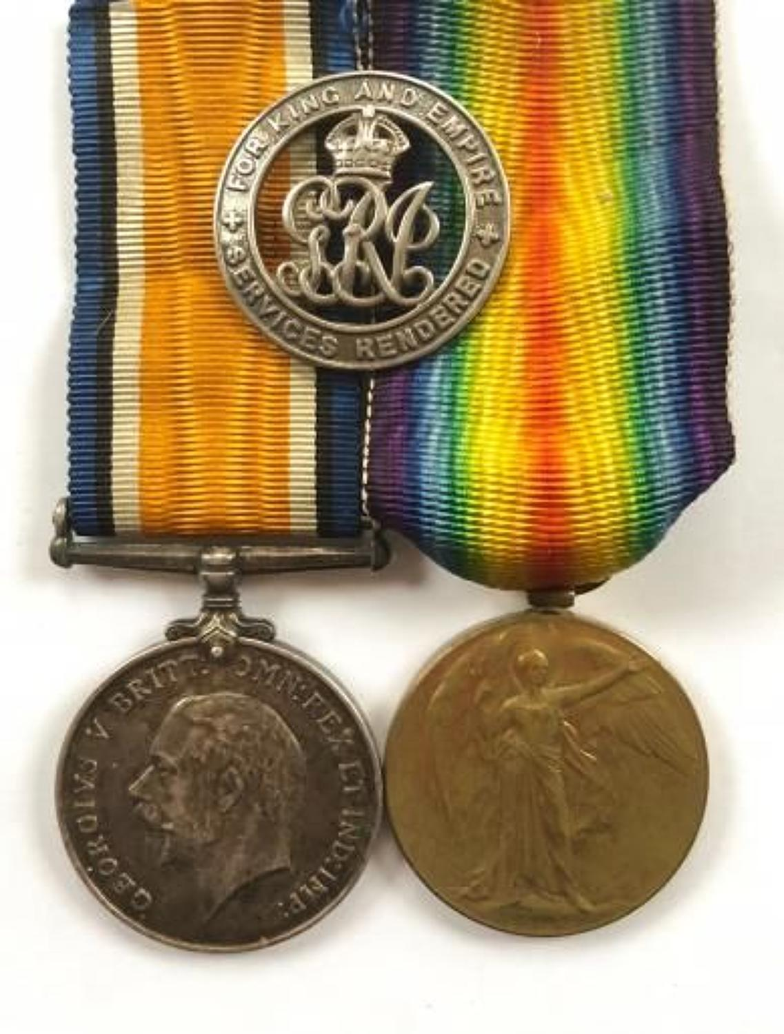 WW1 Royal Warwickshire Regiment Pair of Medals & Silver War Badge.