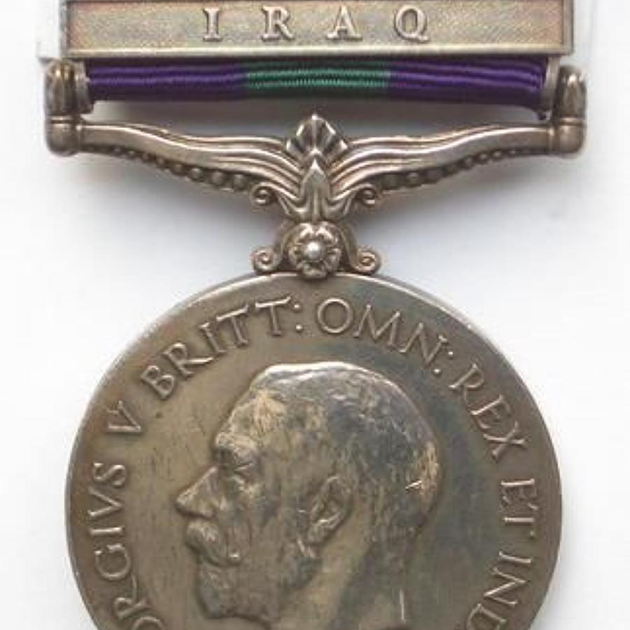 "7th Dragoon Guards General Service Medal clasp ""Iraq"""