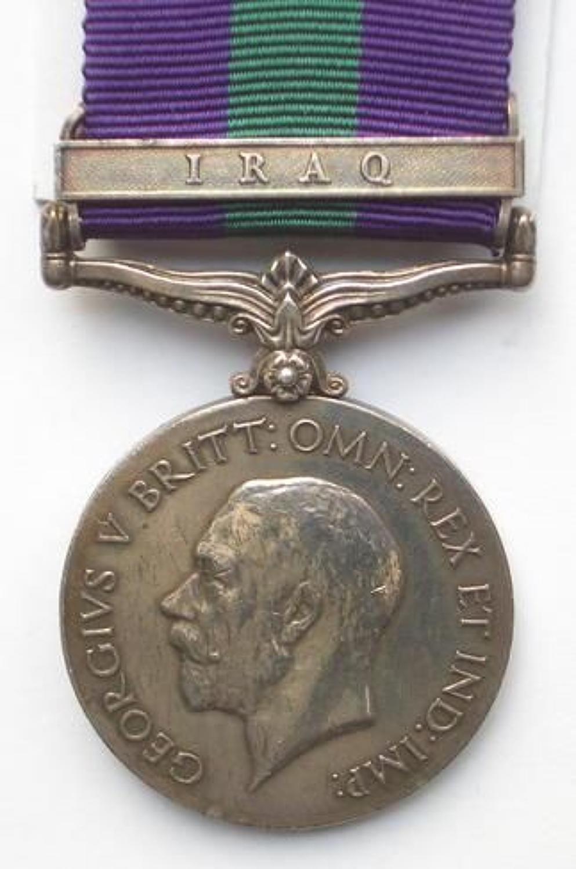 "7th Dragoon Guards General Service Medal clasp ""Iraq"""