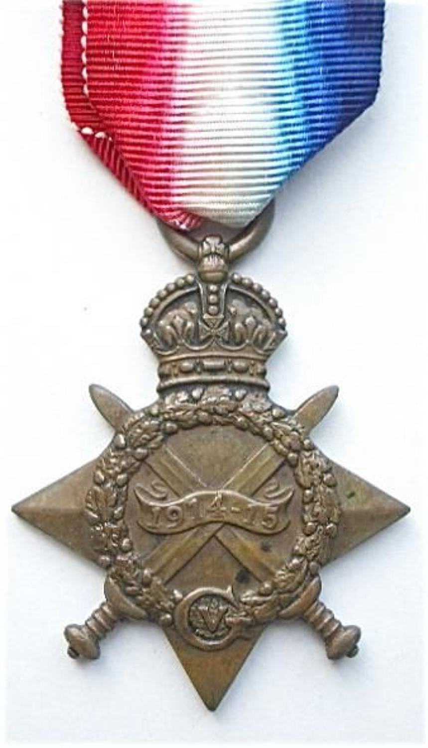 WW1 West Yorkshire Regiment Gallipoli Veteran 1914/15 Star Medal.