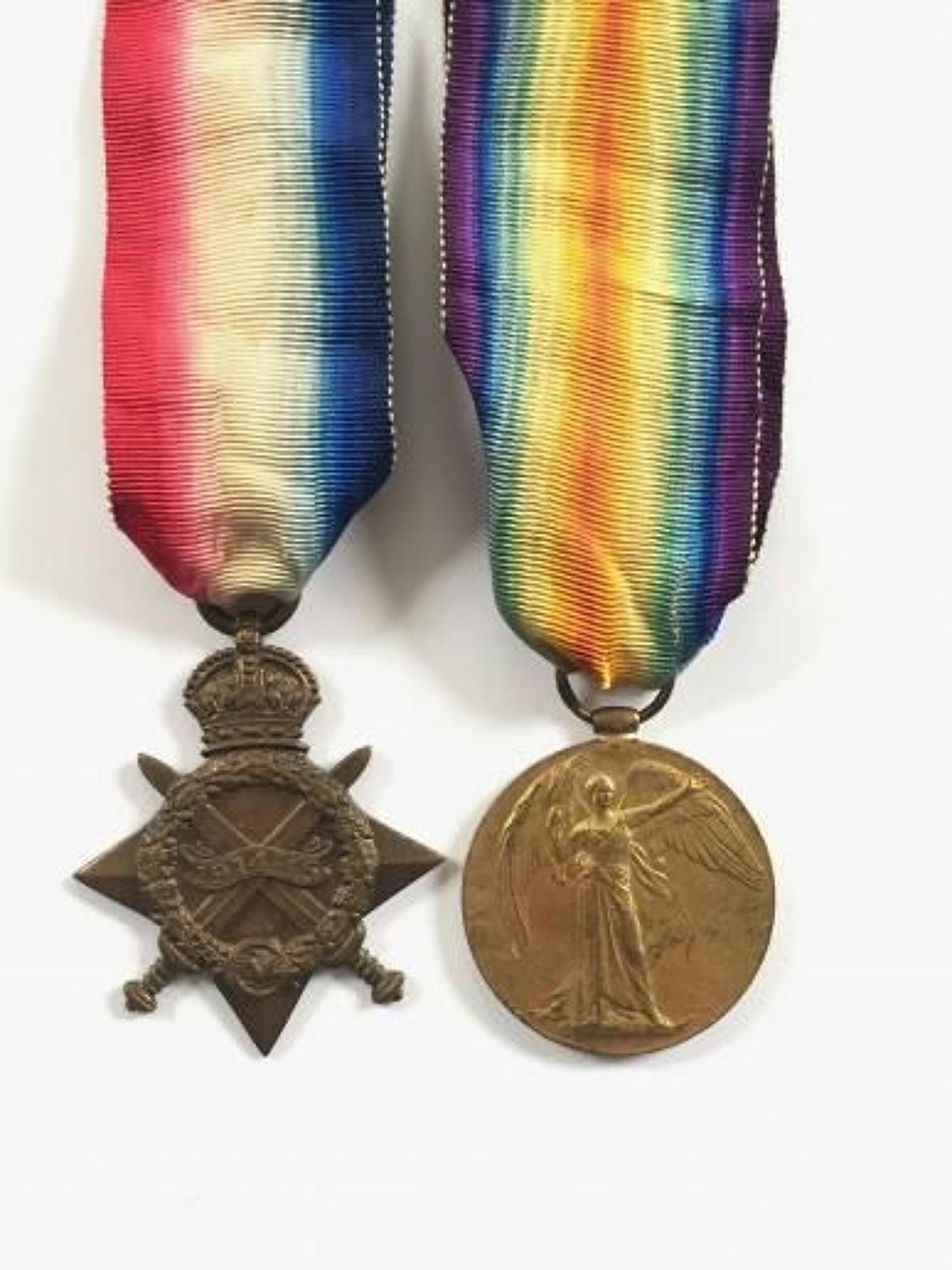 WW1 King's Royal Rifle Corps Casualty Pair of Medals.