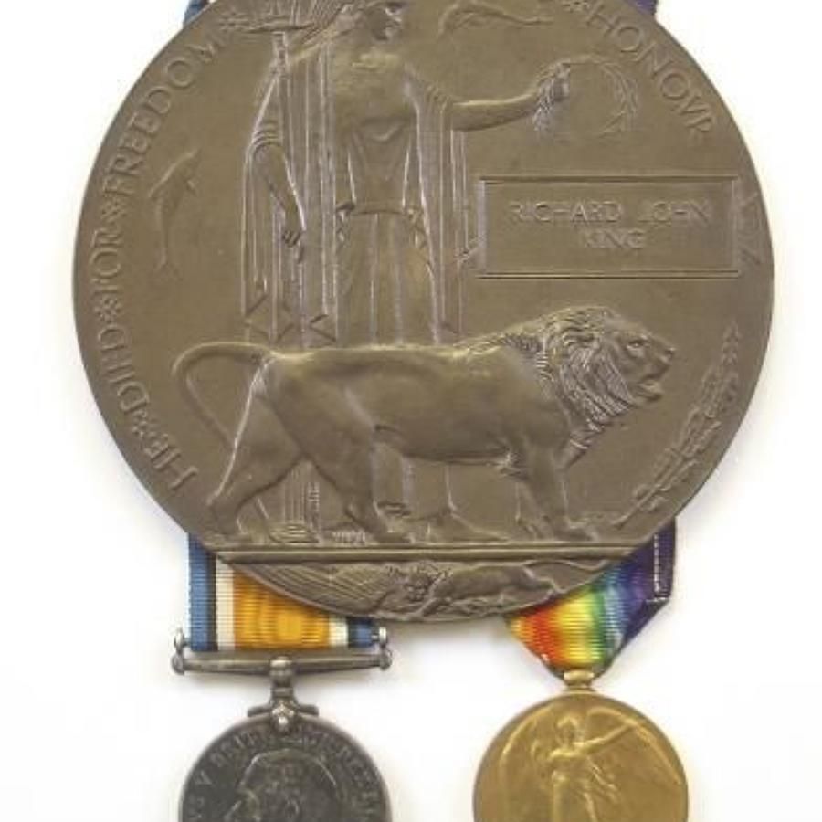 WW1 10th Bn Rifle Brigade Casualty Group of Medals.