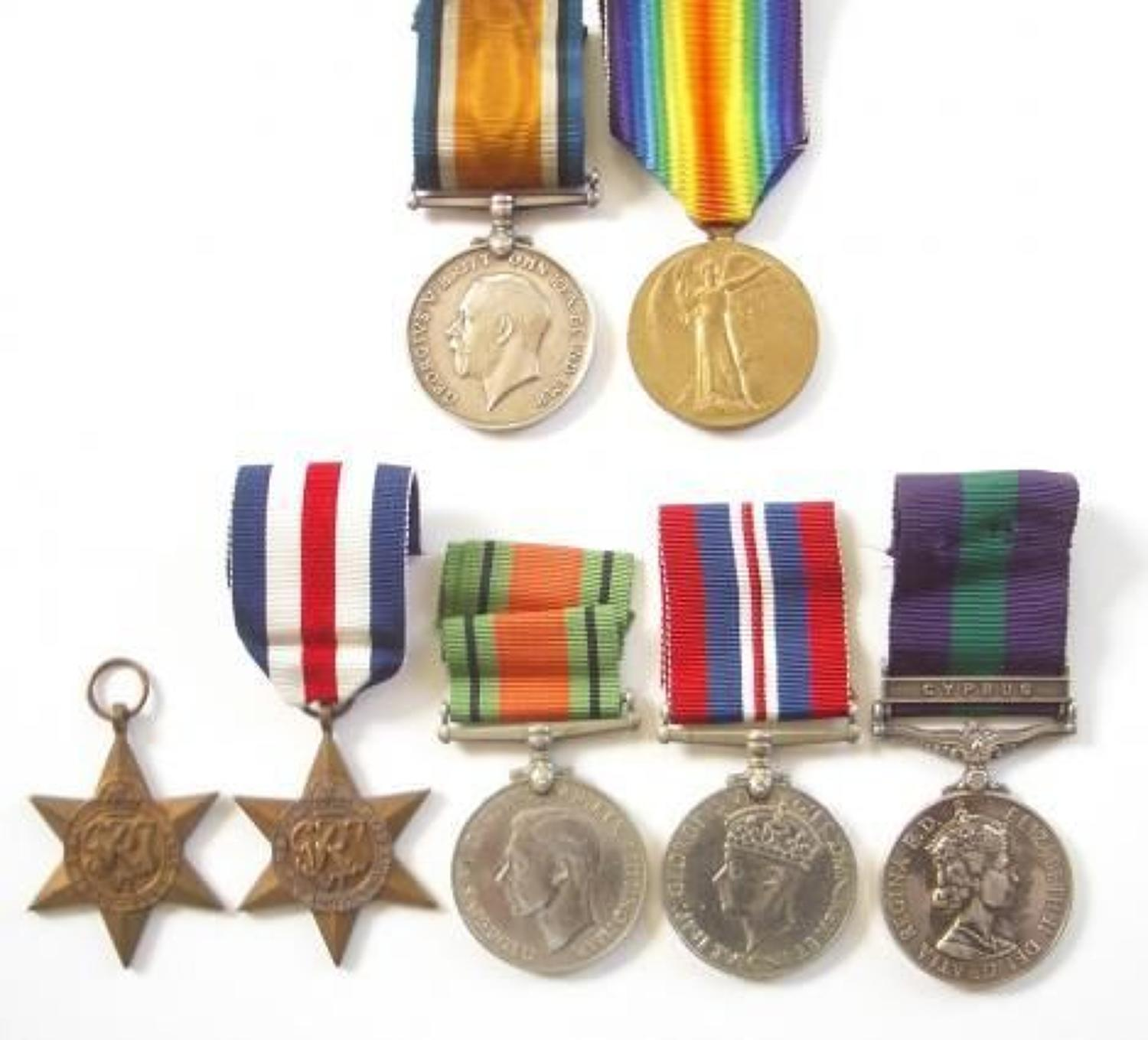 WW1 / WW2 South Lancs & Royal Artillery Familey Medals.
