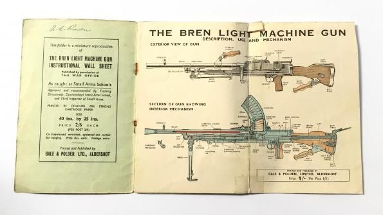 WW2 Period Bren Gun Booklet.