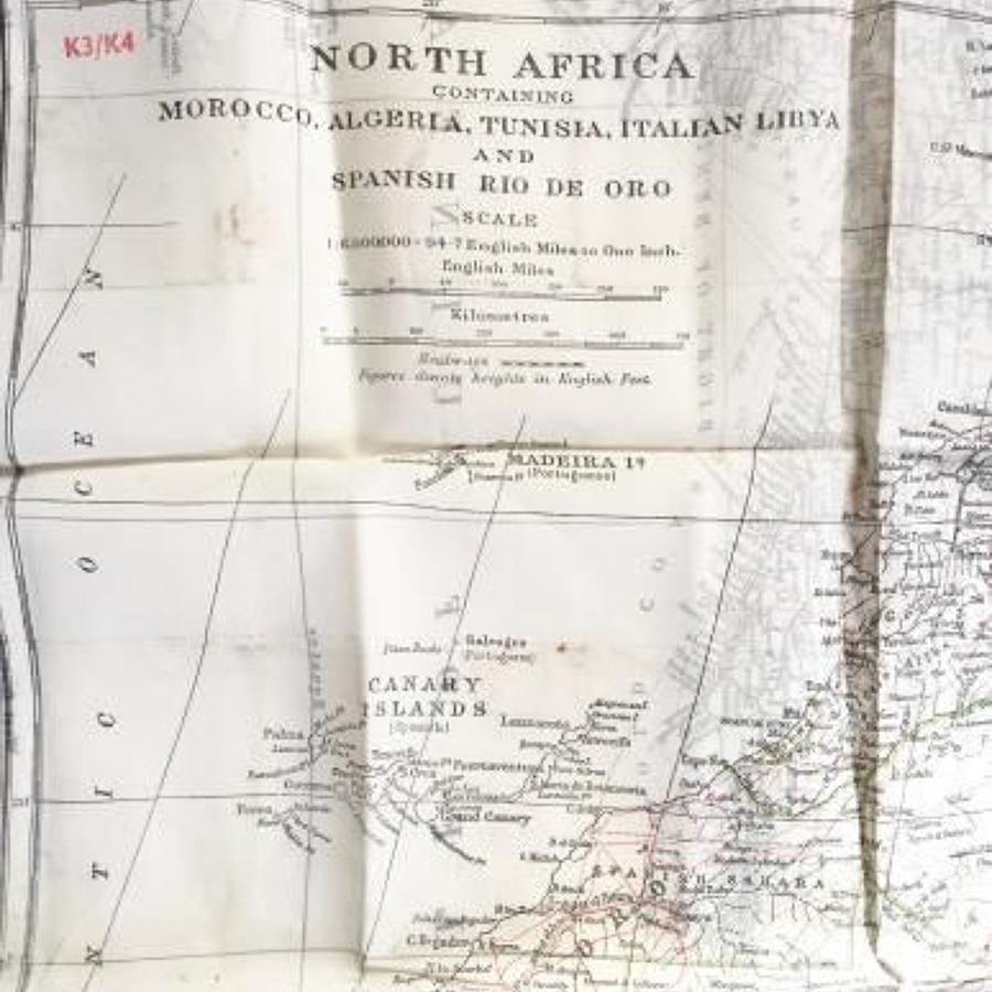 WW2 RAF Silk Escape Map North Africa.