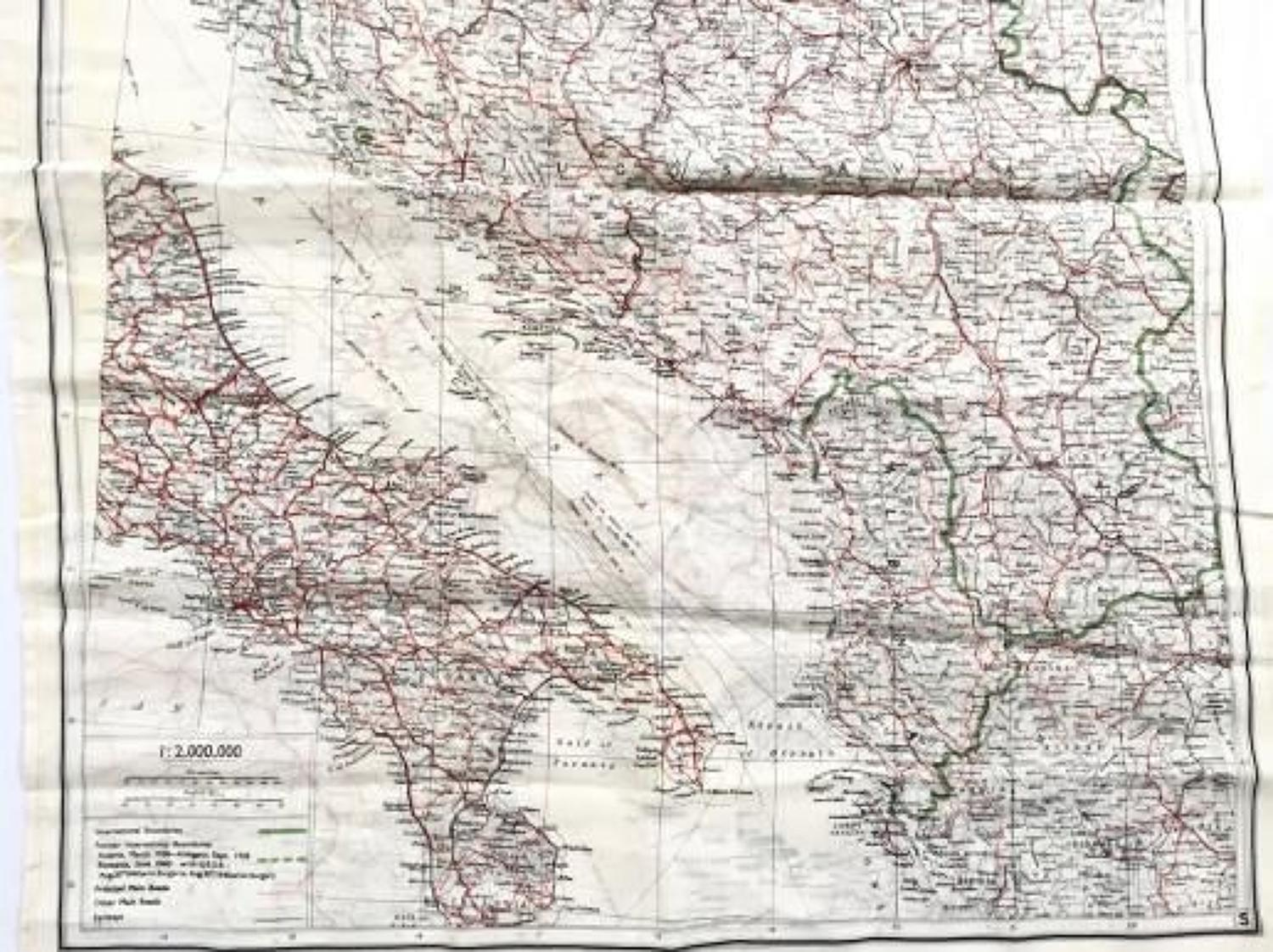 WW2 RAF Silk Escape Map Southern Europe.