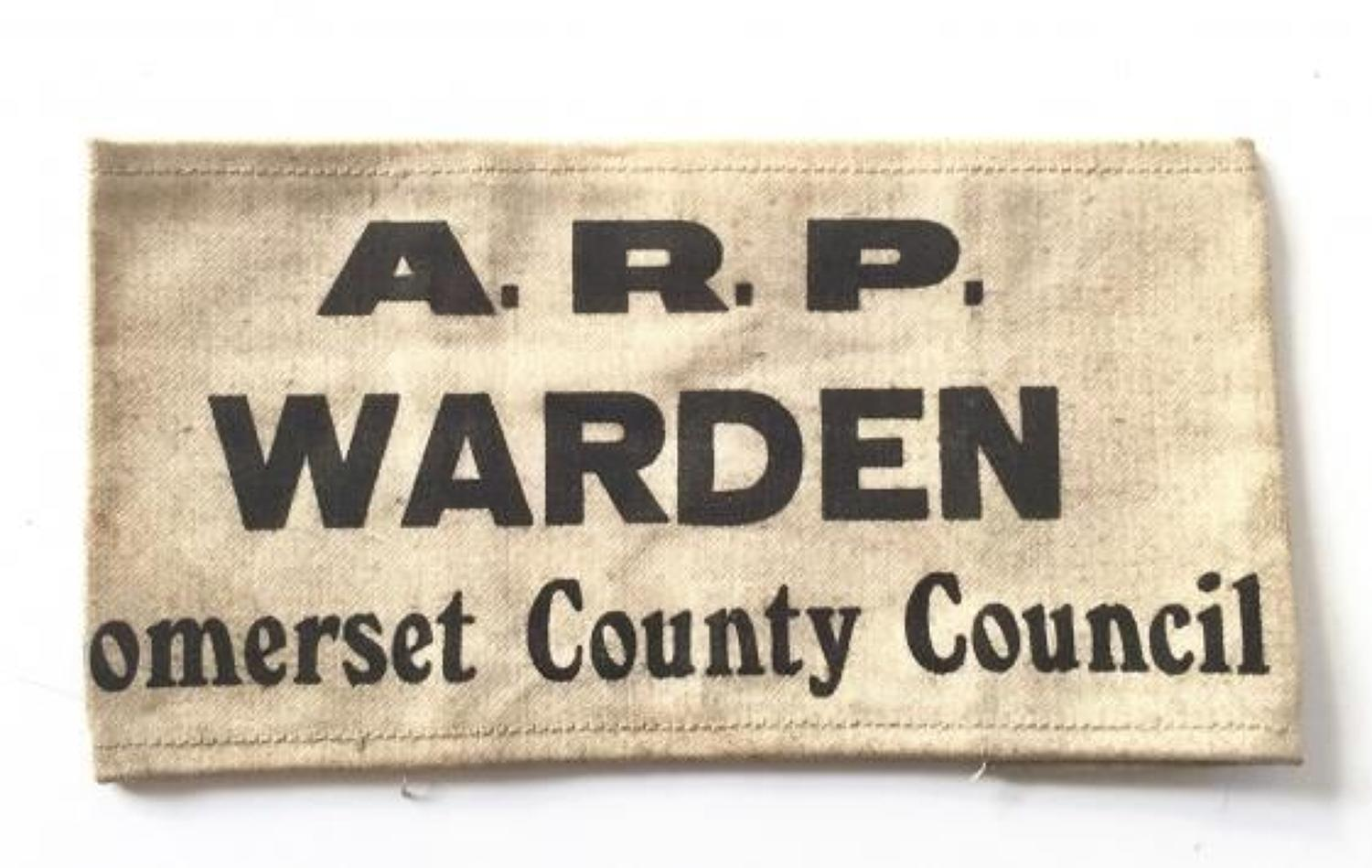 WW2 Home Front Somerset County Council ARP Warden Armband.