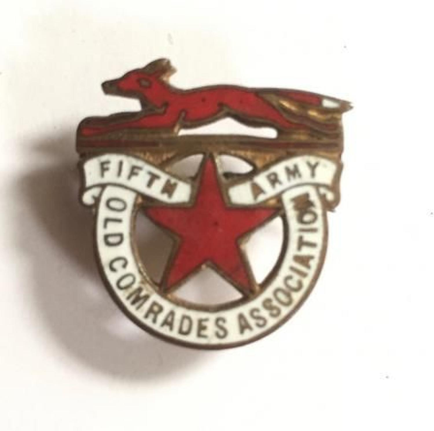 WW1 Fifth Army Old Comrades Association Lapel Badge.