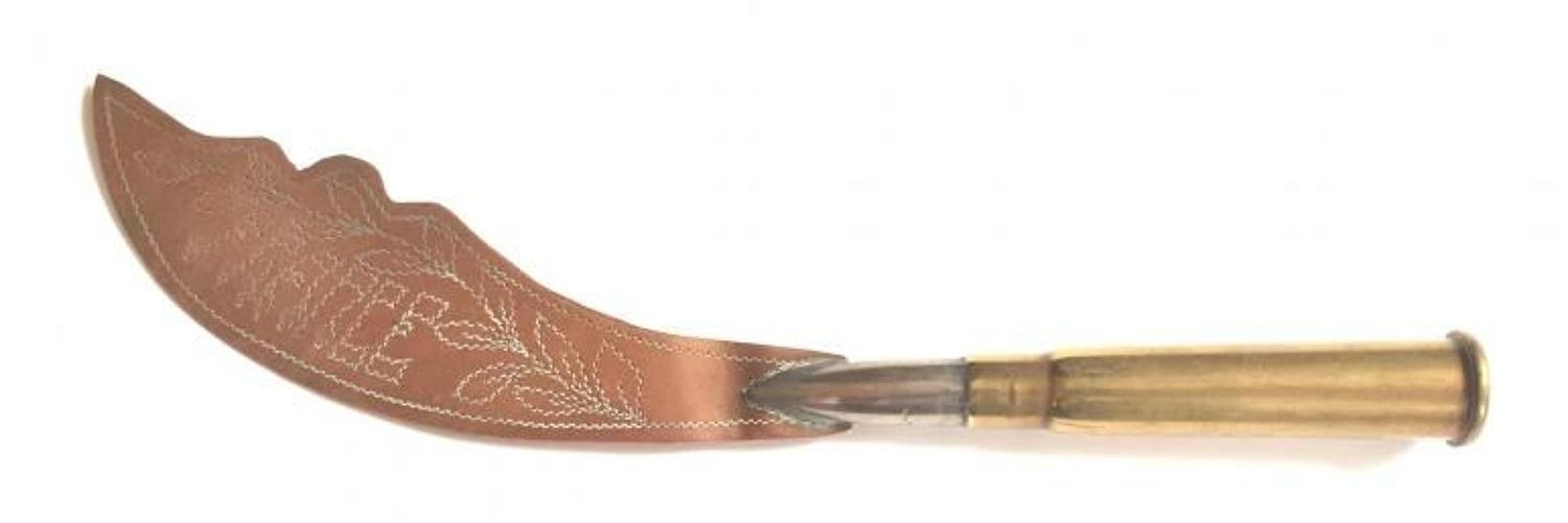 WW1 Trench Art Western Front Letter Opener.