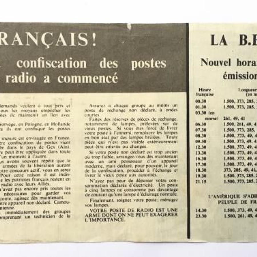 WW2 RAF Propaganda Leaflet French BBC Interest.