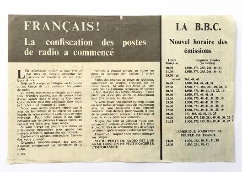WW2 RAF Propaganda Leaflet French BBC Interest.