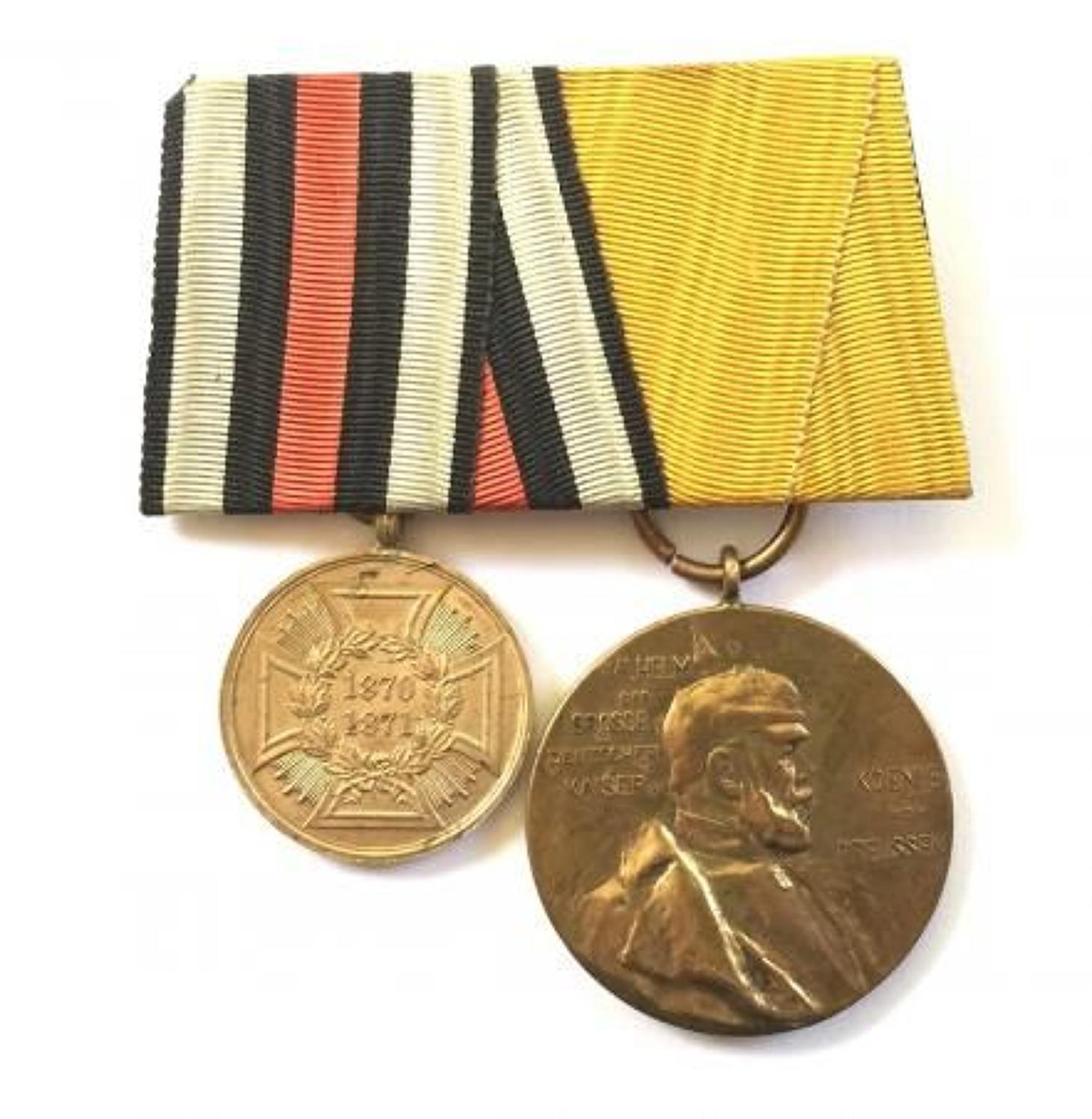 1871 Franco Prussian War Medal For Combatants Pair of Medals.