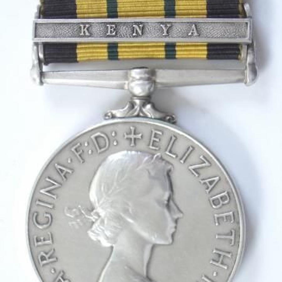 Royal Irish Fusiliers Africa General Service Medal. Clasp Kenya.