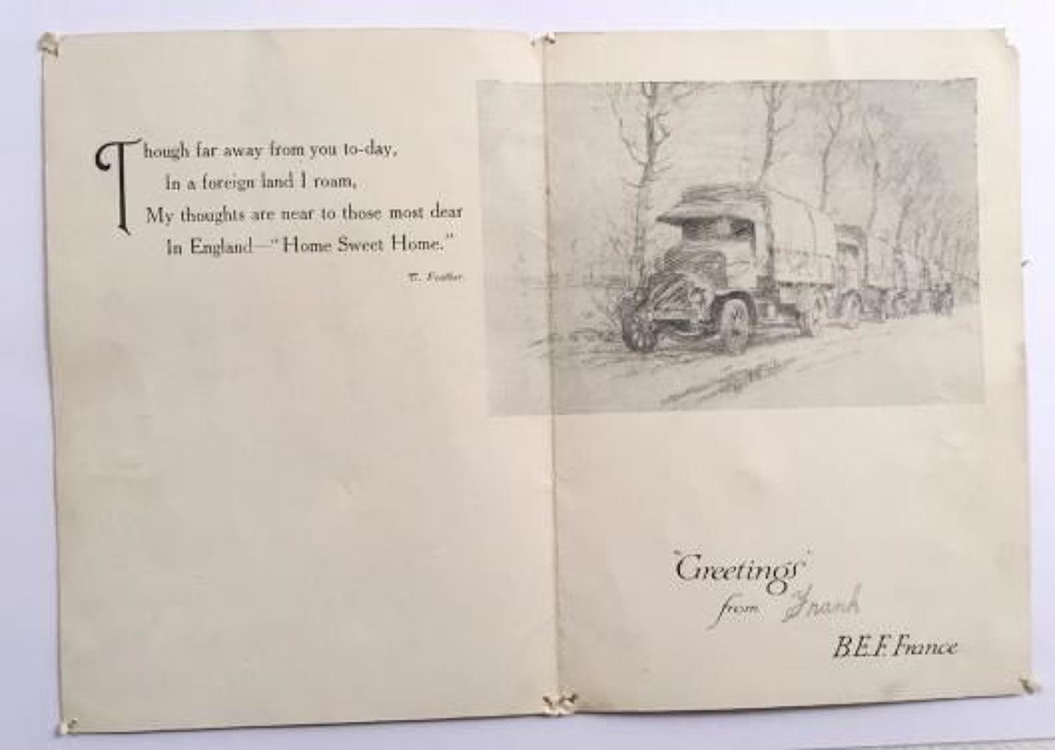 WW1 Army Service Corps M/T Section 1917 Christmas Card.