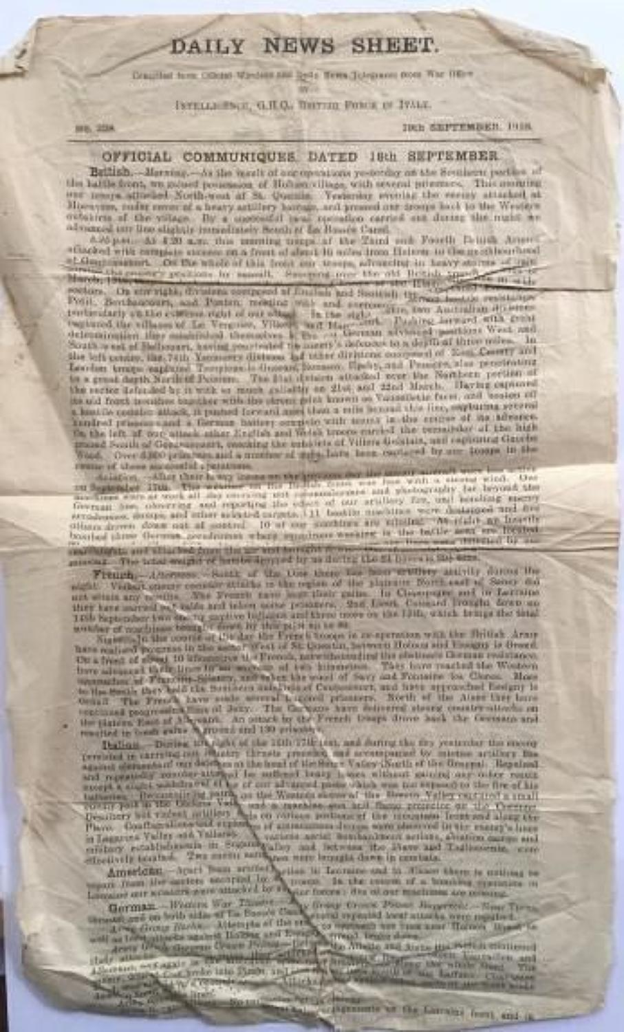 WW1 September 1918 Dailey News Sheet British Forces in Italy.