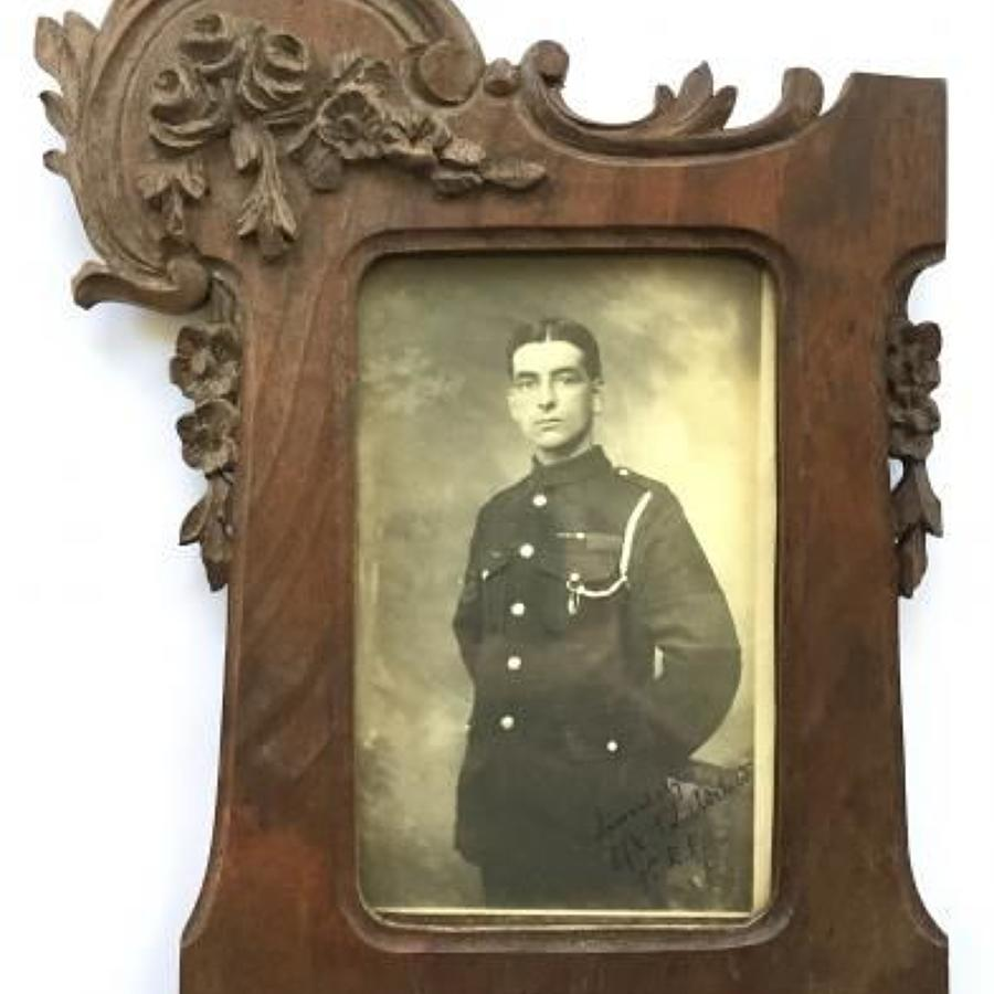 WW1 9th Bn Royal Fusiliers POW Wooden Picture Frame.